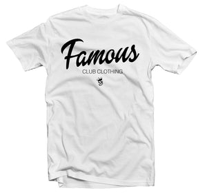 FAMOUS Script Tee White - Famous Club Clothing