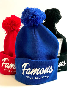FAMOUS Script POM Beanie Royal Blue - Famous Club Clothing