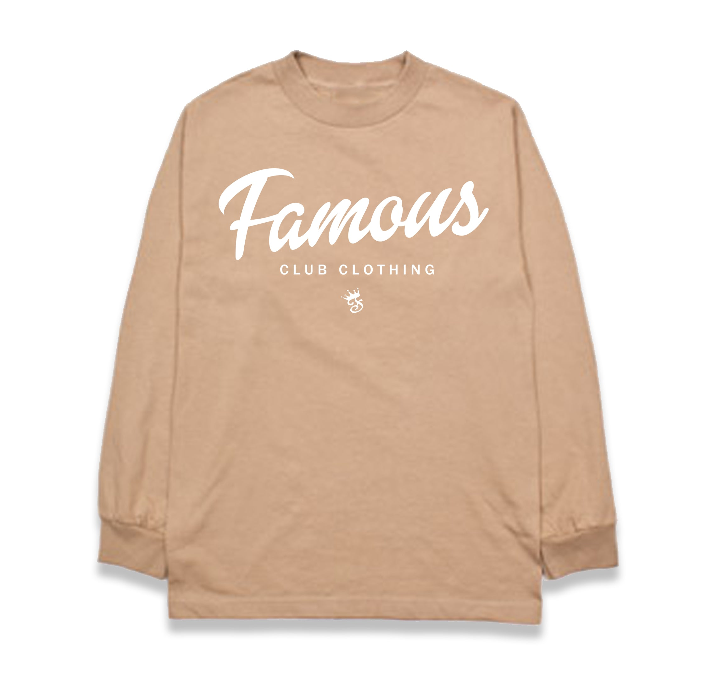 FAMOUS Script Tan L/S - Famous Club Clothing