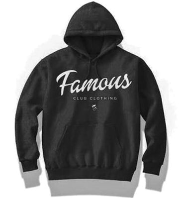 FAMOUS Script Black  Hoodie - Famous Club Clothing