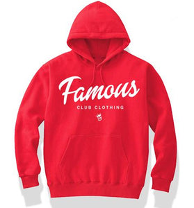 FAMOUS Script Red Hoodie - Famous Club Clothing