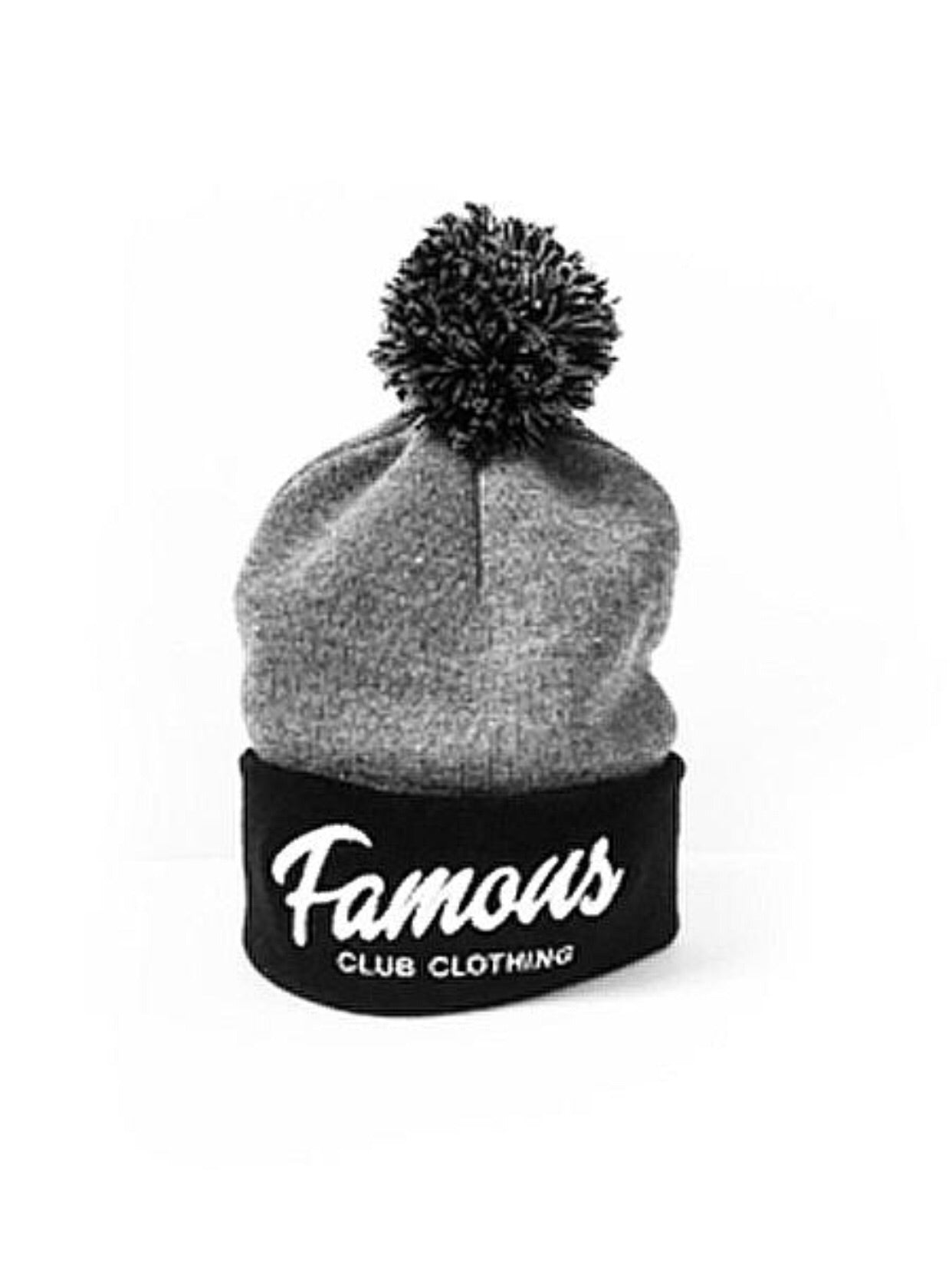 FAMOUS Script Beanie Black/Heather Grey - Famous Club Clothing