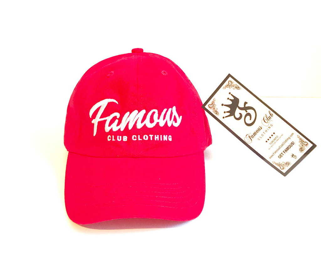 FAMOUS Script Red Dad Hat - Famous Club Clothing