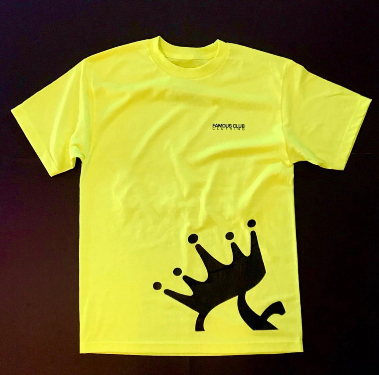 Crown T Shirt Safety Green  Streetwear Lifestyle - Famous Club Clothing
