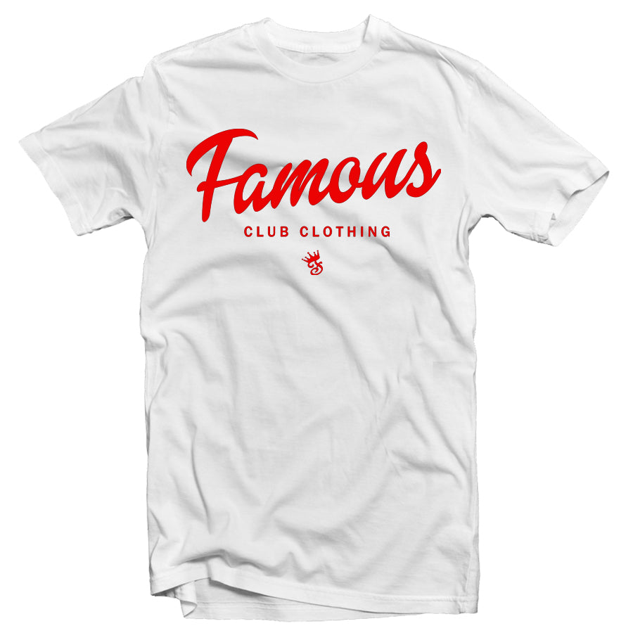 FAMOUS Script Tee - White/Red - Famous Club Clothing