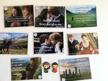 NEW! 9 pcs! Outlander Inspired pvc Fridge magnets plus a quote card magnet - we have new cards!!