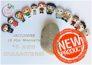 NEW! 12 pcs - Outlander Inspired pvc Fridge magnets plus a magnet quote card