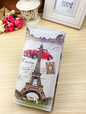 Paris Graffiti Pattern Embossed Modern Wallet for Women