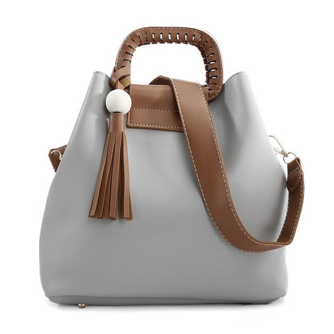 Ethic Knitting Hollow Out Handle Leather Shoulder Bag