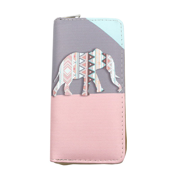 Elephant Printed Embossed Wallet for Women