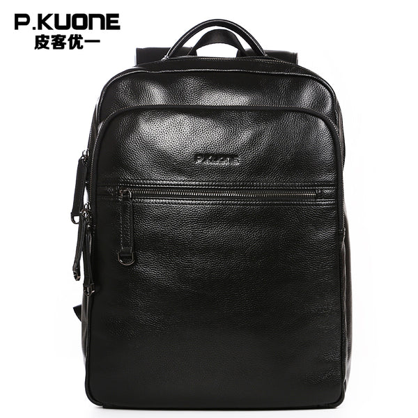 Genuine Leather New Fashion Men Luxury Male Bag High Quality Waterproof Laptop Messenger Travel Backpack