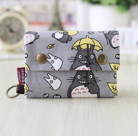 Anime Cute Toroto Cat Canvas Zipper Wallet