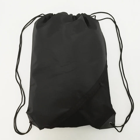 Mens Zipper Pocket Black Sportpack Gear Bag Draw String Backpack