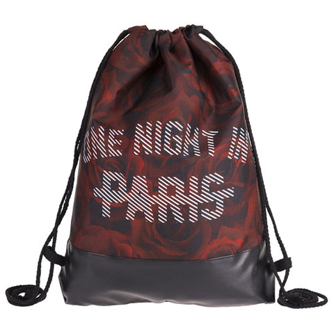 Paris Red Roses Printing Leather Bottom Backpack