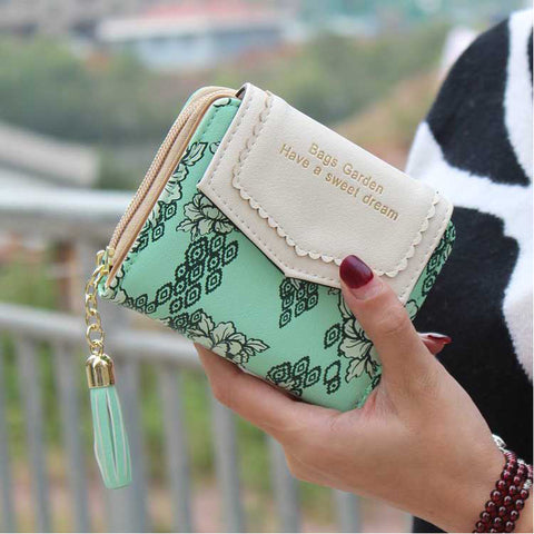 Zipper Tessels Floral Luxury Vintage Design Wallet for Women