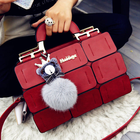 High quality women bag suture Boston bag inclined shoulder bag women leather handbags