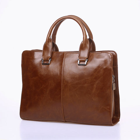 Rero Vintage Style PU Leather Men Bags Business Briefcase Bag Solid Office Men Business Bags New Men Bag