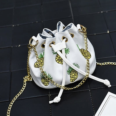 Pineapple Embroidery Bucket Bag Small Women Messenger Beach Bags Lady Crossbody Chain