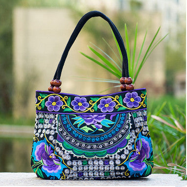 Floral Embroidered Lady Top-handle bags Top handbag embroidered