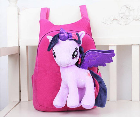 3D My Pony backpack for girls Kids School bag Child Plush Backpacks Baby Schoolbag Cartoon Kids