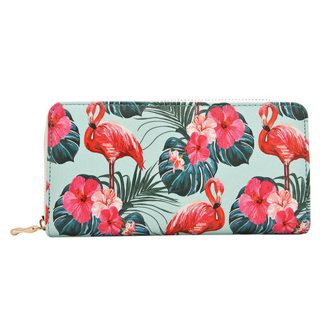 PU Leather Lovely Flamingo Printed Fashionable Wallet for Women