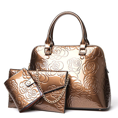 PU Leather Women Bags Floral Printing 3pcs Set Women Handbags Purse Cultch Composite Messenger bag