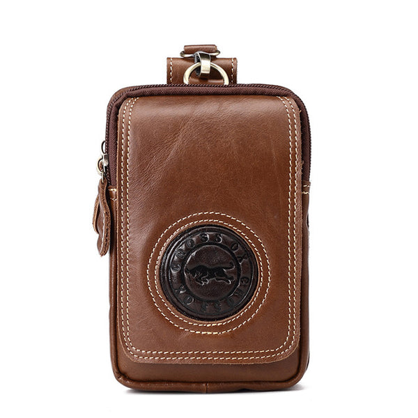 Genuine Leather Organizer Wallet Men Key Wallets Cellphone Holder Cow Leather