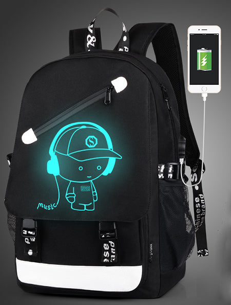 Luminous Animation USB Charge Changeover Joint School Bags Teenager anti-theft backpack