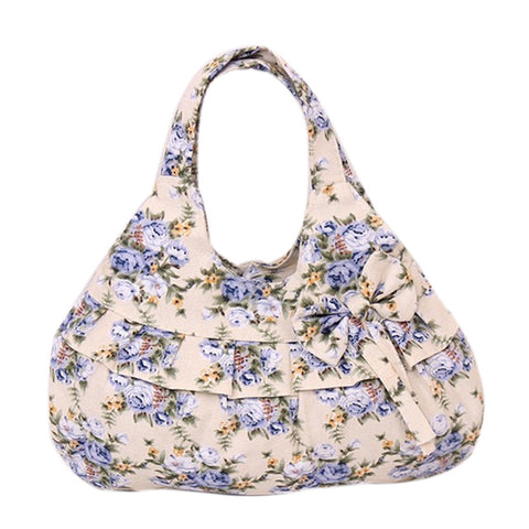 Fashion Women Handbag Flower Women's Handbags Bowknot Beautiful Tote Canvas Bag