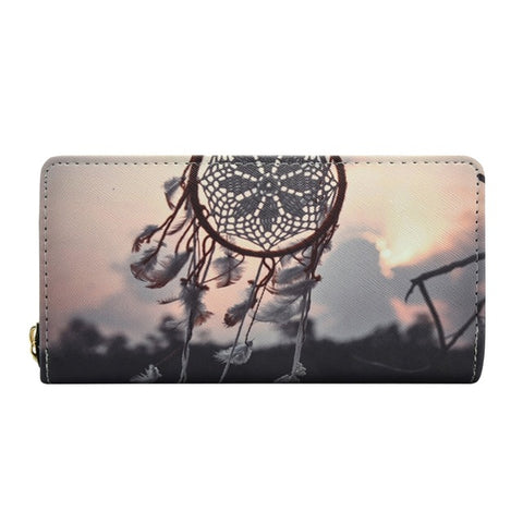 Zipper PU Leather Dreamcatcher Printed Wallet for Women