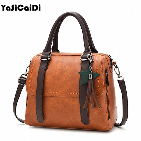 Leather Tassel Pendant Women Handbag Lady Simgle Patchwork Pillow