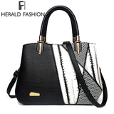 New Design Handbag Black And White Stripe Tote Bag Female Shoulder Bags High Quality PU Leather