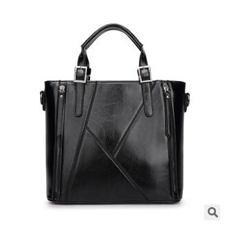 Genuine leather stitching bag diagonal single shoulder bag