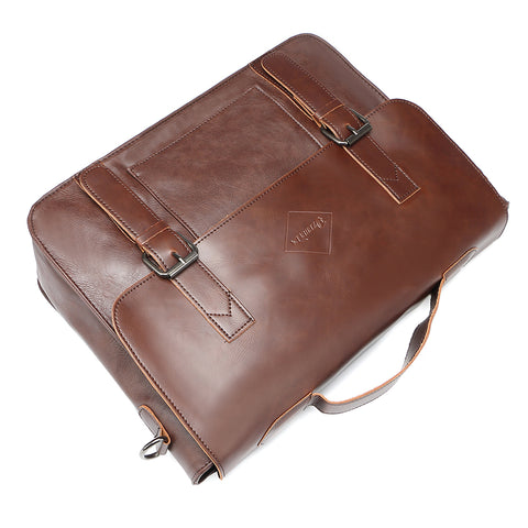 Men's Business Briefcases Pu Leather Brown Mens Laptop Messenger Bags Classic Portfolio Document Office Bag New