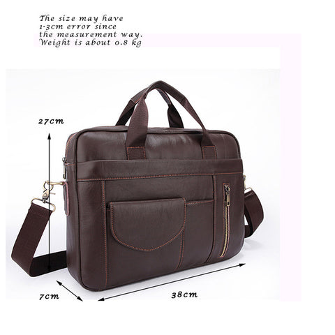 Genuine Leather Men Briefcases Handbag Document Brown Business Office Laptop Bag Leather Brief Cases