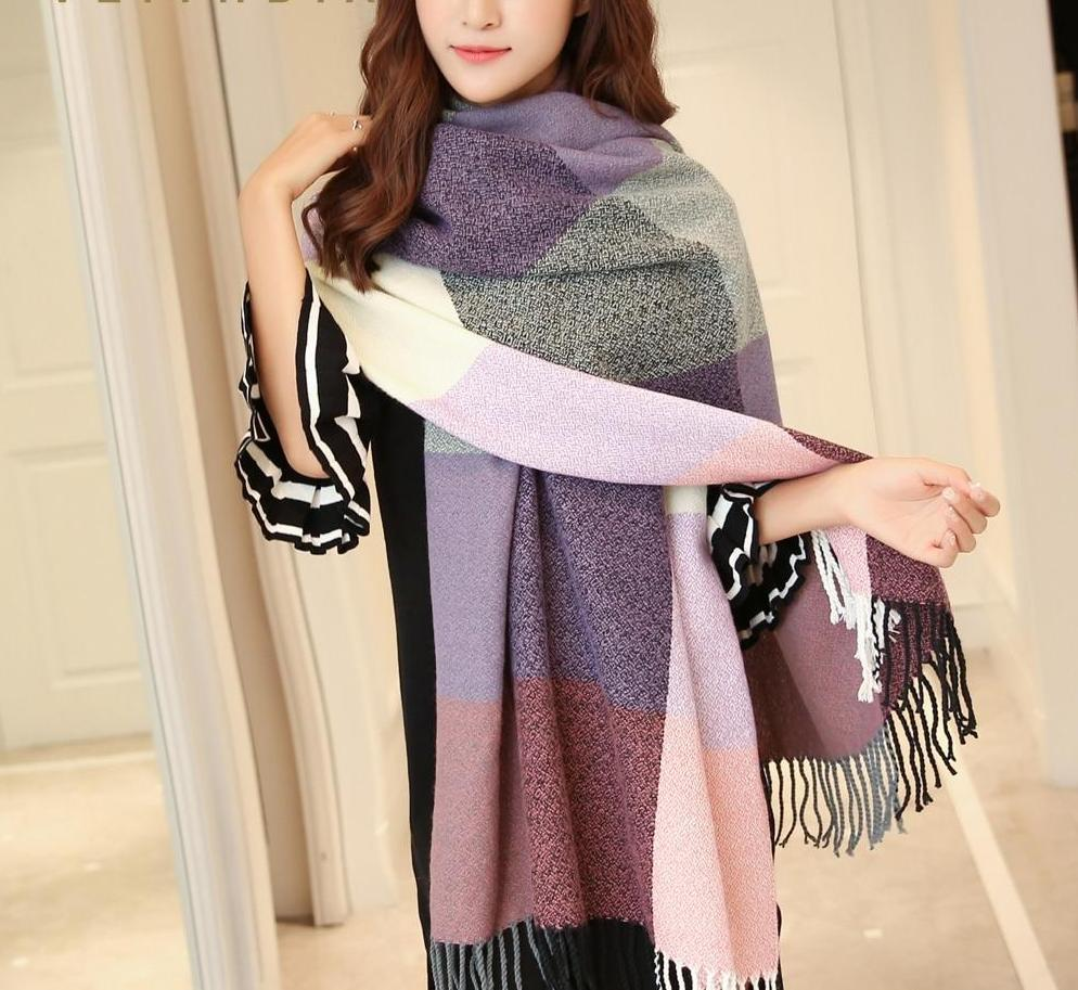 MIK Cashmere Wide Lattices Long Shawl - MiKlah