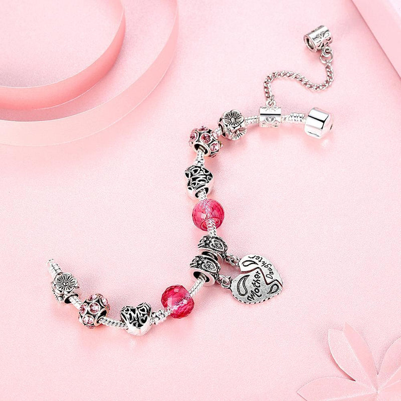 Mother and Daughter Silver Heart Charm Bracelet - MiKlah