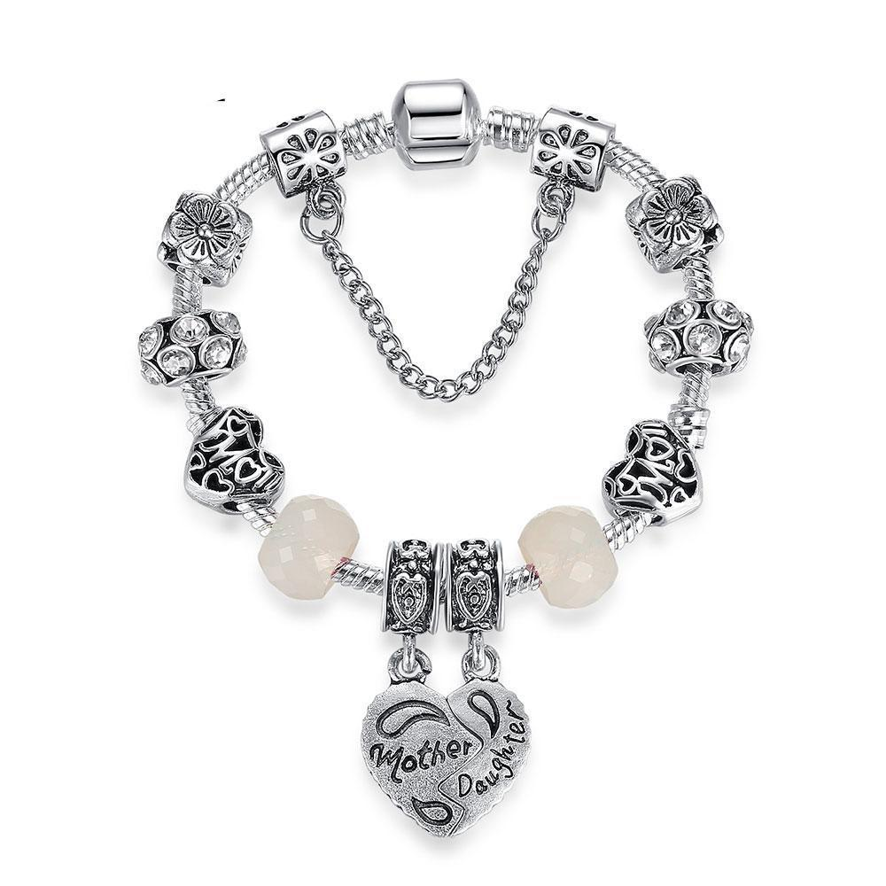 Mother & Daughter Heart Crystal Charms Bracelets - MiKlah