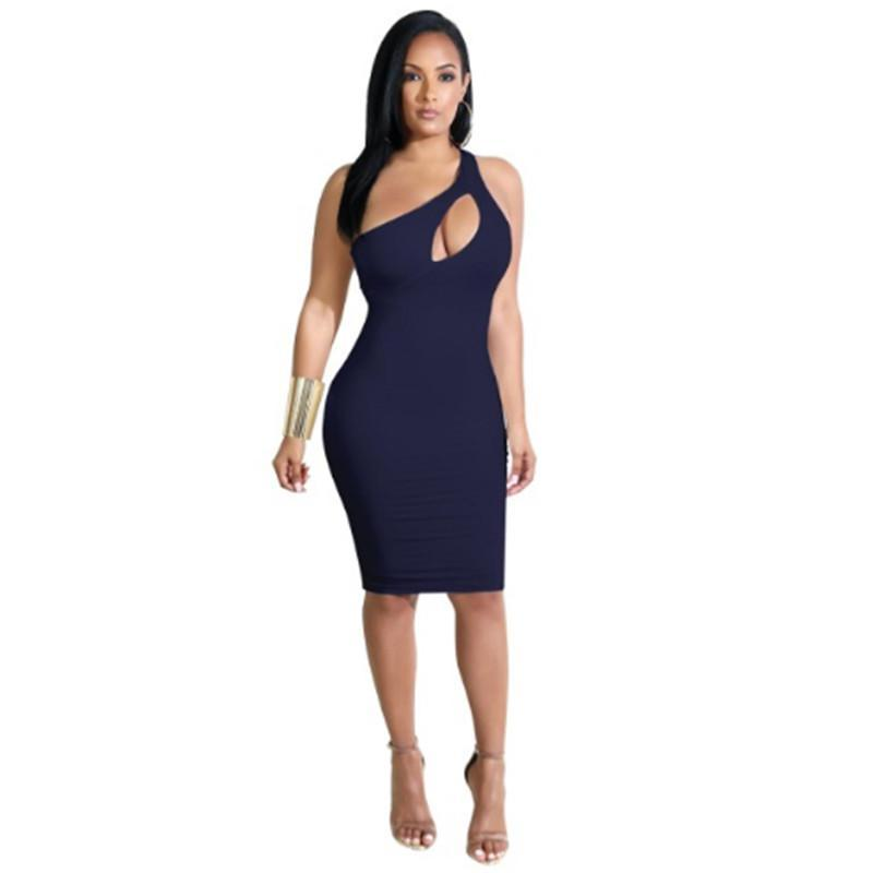 MIK Hollow Out Slim Bodycon Elastic Dress - MiKlah