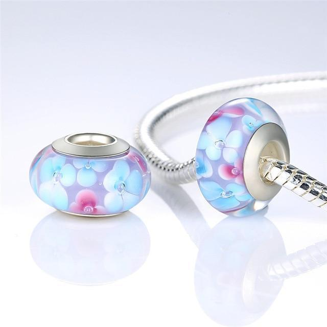 Authentic Silver Plated Flower Murano Glass - MiKlah