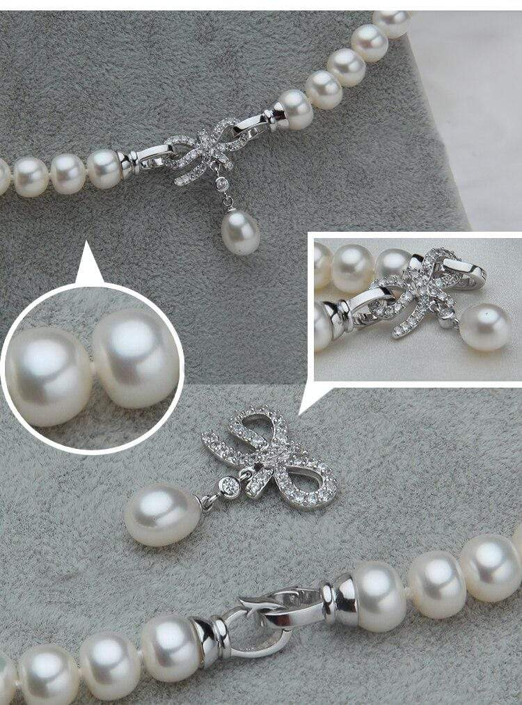 Bowknot charm White Pearl Necklace - MiKlah