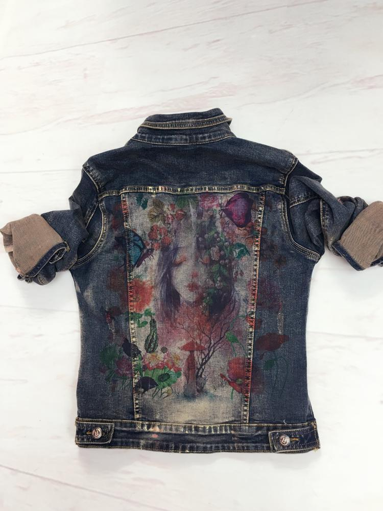 Flowers Print Denim Jeans Jacket Pants Suit - MiKlah
