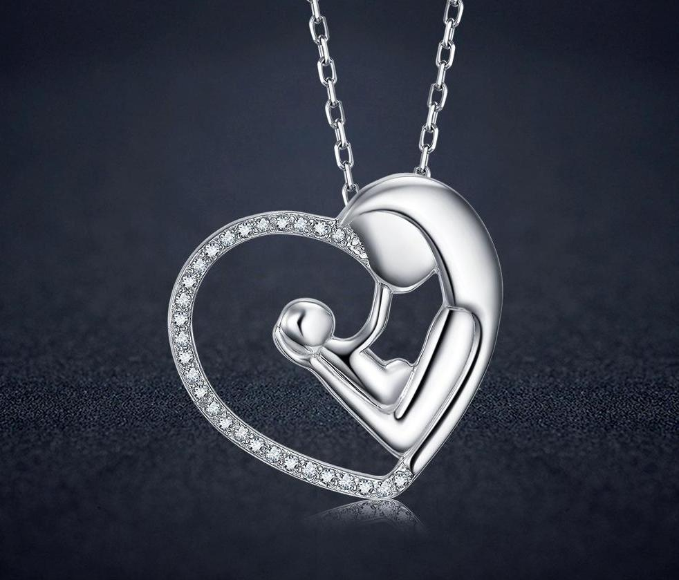 925 Sterling Silver Mother and Child Heart Rhinestone Necklace - MiKlah
