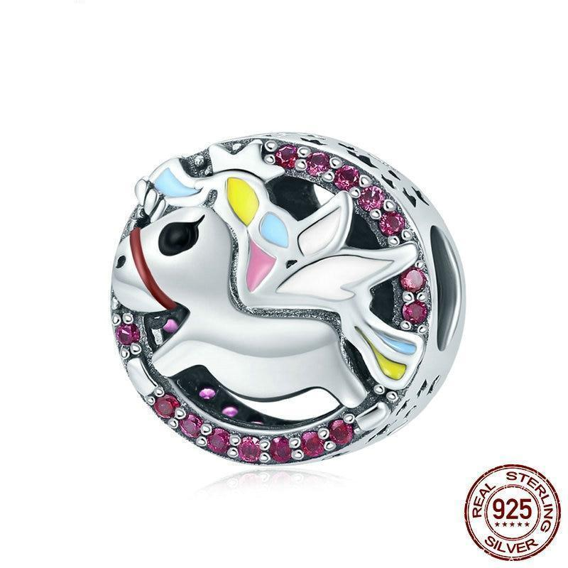 925 Sterling Silver Unicorn Charms Bead - MiKlah