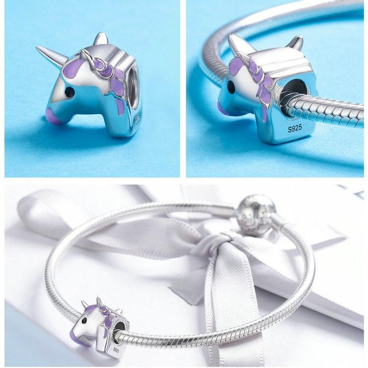 925 Sterling Silver Unicorn head Charm - MiKlah