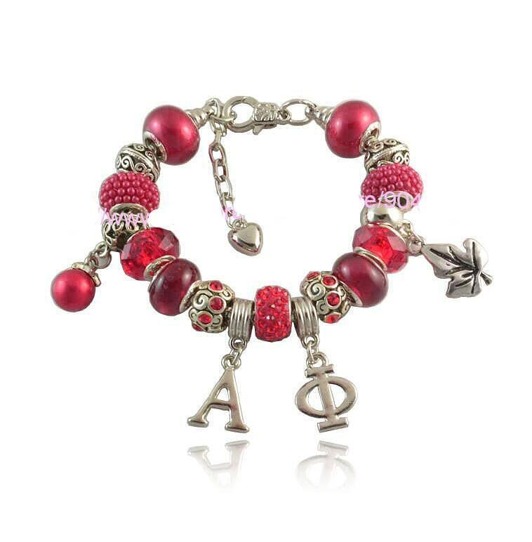 Alpha Phi Sorority  Charms  Bead  Bracelet - MiKlah