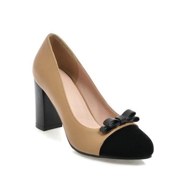 Two-Tone Leather Square High Heel Pumps - MiKlah