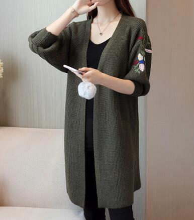 MIK Embroidery V Collar Cardigan - MiKlah