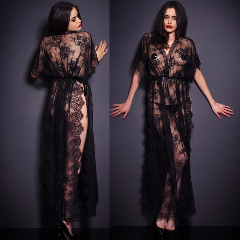 Black Lace Robe With T-thongs - MiKlah