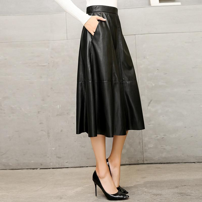 MIK High Waist Slim Faux Leather Skirts - MiKlah
